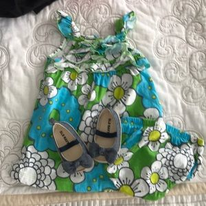 CARTERS tropical sundress and shoes!! 6M